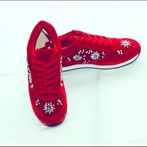 Brand New - Red Velvet sneakers with stone designs